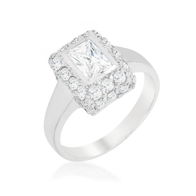 Weslia Radiant  Halo Bezel Engagement Ring | 1.9 Carat | Cubic Zirconia - Beloved Sparkles  - 1