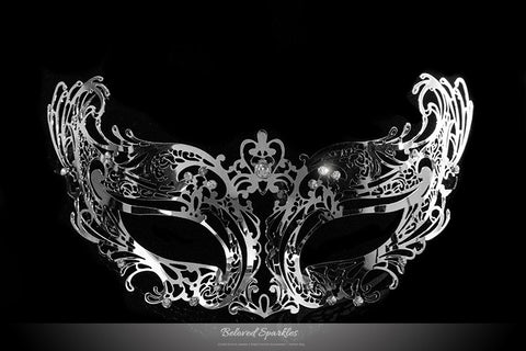 Liana Silver Metal Lace Masquerade Mask | Metal - Beloved Sparkles  - 1