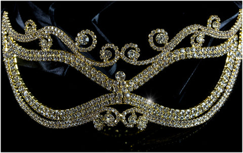 Mayda Romantic Swirls Gold Masquerade Mask | Crystal | Gold