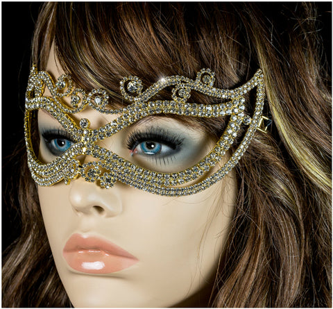 Mayda Romantic Swirls Gold Masquerade Mask | Crystal | Gold - Beloved Sparkles