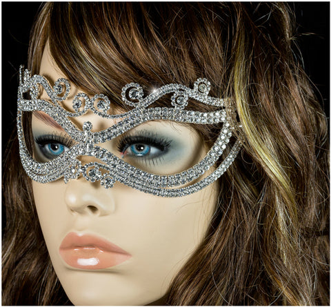 Mayda Romantic Swirls Silver Masquerade Mask | Crystal - Beloved Sparkles