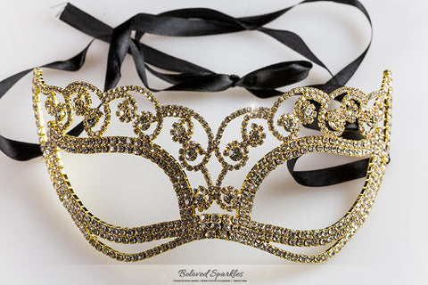 Francine Flower Gold Masquerade Mask | Crystal | Gold