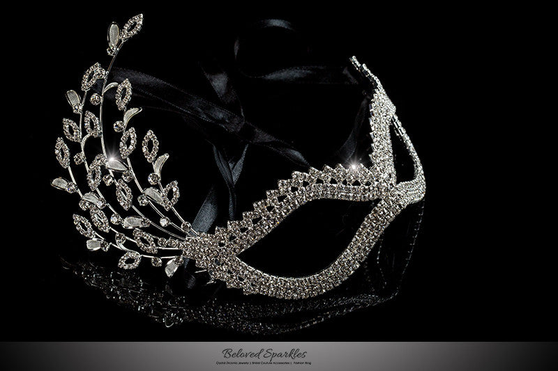 Gail Floral Cascade Silver Masquerade Mask | Crystal - Beloved Sparkles