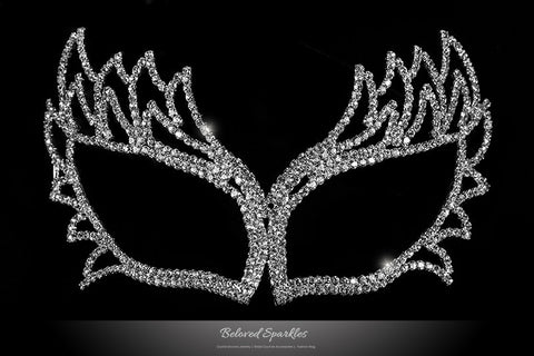 Shawna Fierce Silver Masquerade Mask | Crystal - Beloved Sparkles  - 1