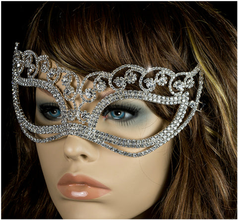 Francine Flower Silver Masquerade Mask | Crystal | Silver