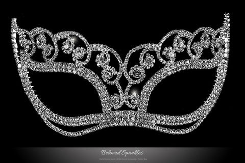Francine Flower Silver Masquerade Mask | Crystal - Beloved Sparkles
