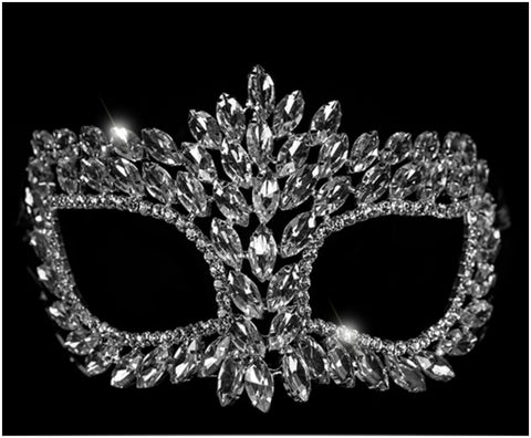 Drina Marquise Cluster Masquerade Mask | Crystal | Silver