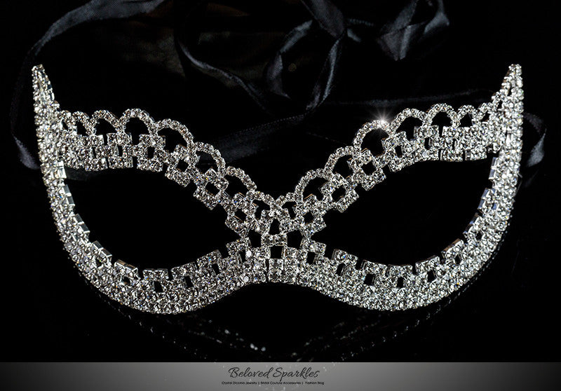 Lonie Swirl Cluster Masquerade Mask | Silver | Crystal - Beloved Sparkles  - 1