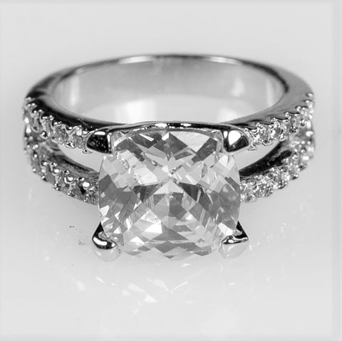 Zandra Cushion Cut Engagement Statement Ring | 6.5ct | Cubic Zirconia | Silver