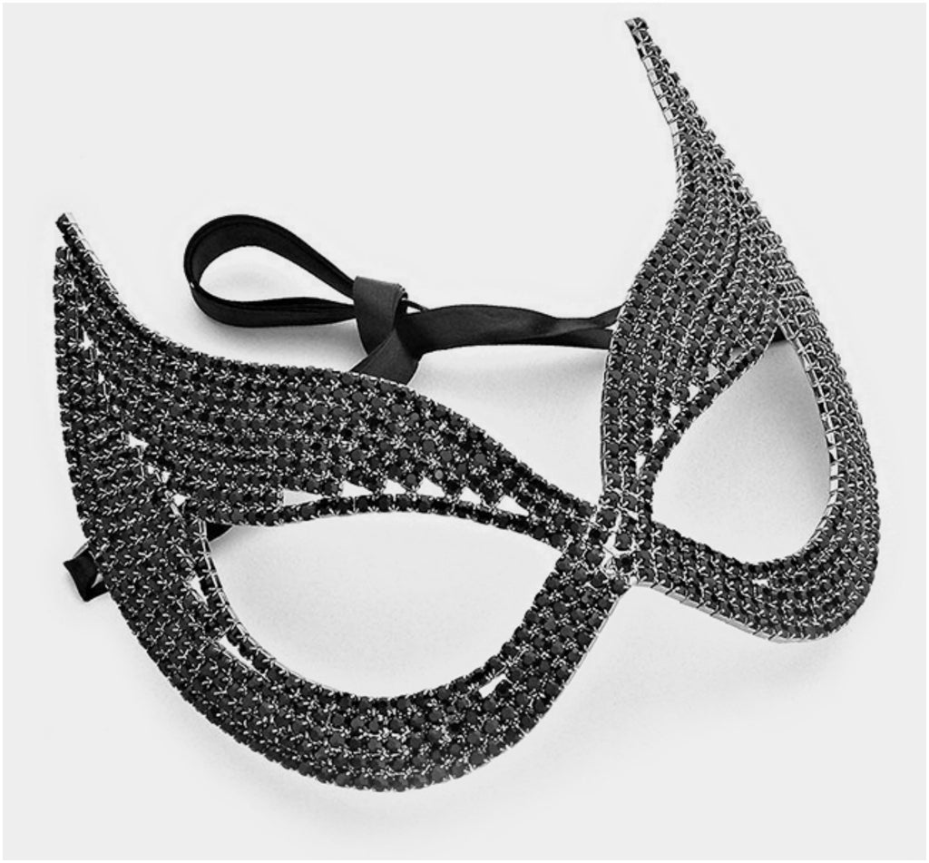 Zelda Black Cluster Cat Eye Statement Masquerade Mask | Crystal - Beloved Sparkles