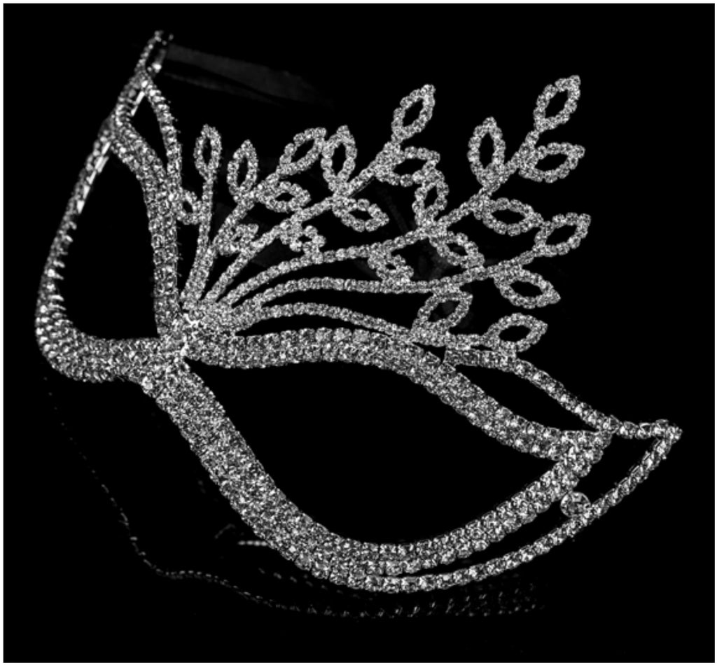 Lorelle Leaves Statement Masquerade Mask | Silver | Crystal