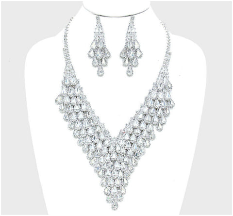 May Tear Drop Cluster Bib Necklace Set | Crystal