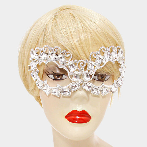 Annika Art Deco Cluster Statement Masquerade Mask | Crystal - Beloved Sparkles  - 2