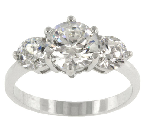 Alpha Triplet Round Cut Engagement Ring | 3ct | Cubic Zirconia | Sterling Silver