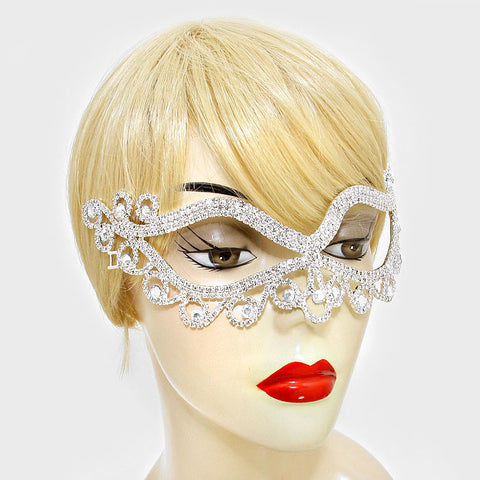Bahati Swirl Filigree Cat Eye Masquerade Mask | Silver | Crystal - Beloved Sparkles  - 2