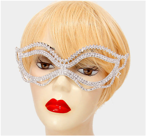 Jessie Wavy Passion Masquerade Mask | Crystal - Beloved Sparkles  - 2