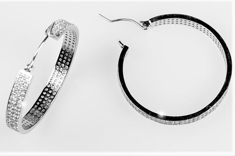 Theda 3 Rolls Pave 35mm Hoop Earrings.| 6.5 Carat | Cubic Zirconia - Beloved Sparkles  - 2