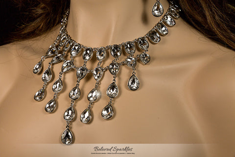 Krista Art Deco Draping Necklace | Crystal - Beloved Sparkles  - 2