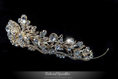 Sabella Victorian Art Deco Gold Tiara | Swarovski Crystal - Beloved Sparkles  - 2