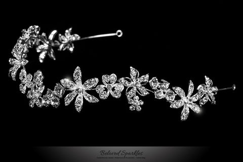 Loretta Flower Forehead Silver Headband | Swarovski Crystal - Beloved Sparkles  - 2
