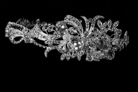 Keena Ribbon Cluster Silver Headband | Swarovski Crystal - Beloved Sparkles  - 2