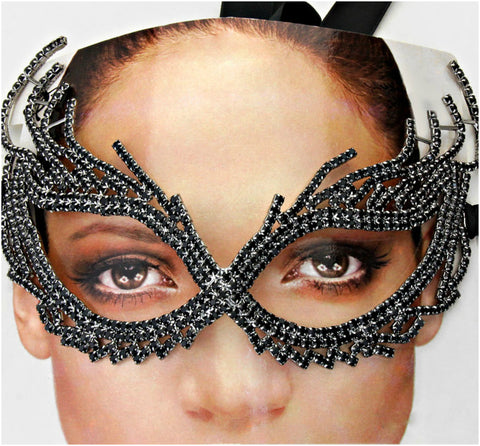 Nadelie Modern Cat Eye Masquerade Mask | Black | Crystal - Beloved Sparkles  - 2