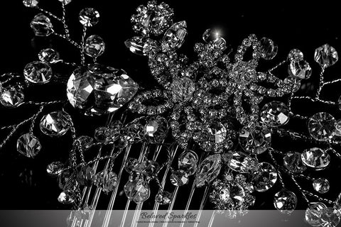 Sisley Garden Flower Leaves Hair Comb | Swarovski Crystal - Beloved Sparkles  - 2