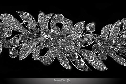 Tracey Ribbon Floral Hair Comb | Crystal - Beloved Sparkles  - 2