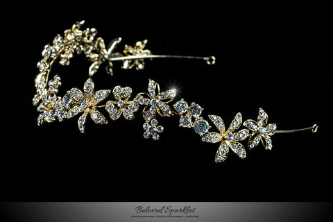 Loretta Flower Forehead Gold Headband| Swarovski Crystal - Beloved Sparkles  - 2
