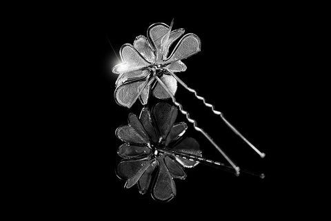 Orlina Large Mesh Flower Hair Stick Pin | Rhinestone - Beloved Sparkles  - 2