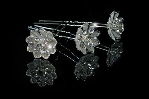 Madison Mesh Flower Hair Pin | Rhinestone - Beloved Sparkles  - 2