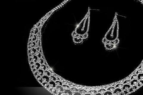 Tyzna Art Deco Arch Necklace Set | Rhinestone - Beloved Sparkles  - 2