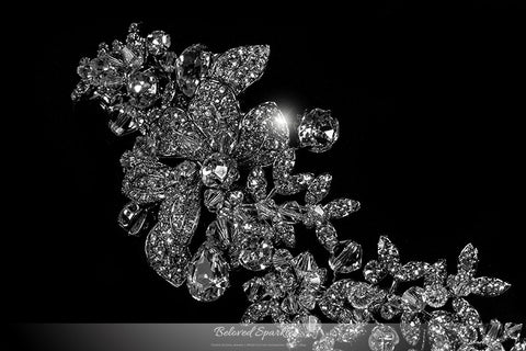 Lizabeth Ila Long Floral Cluster Hair Clip | Swarovski Crystal - Beloved Sparkles  - 2