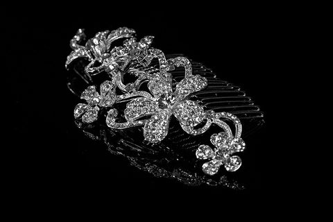 Kathleen Flower Cluster Hair Comb | Swarovski Crystal - Beloved Sparkles  - 2