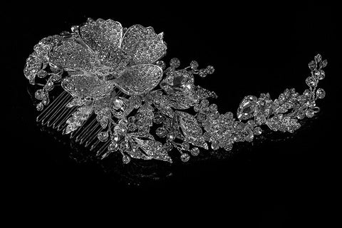Adele Vintage Flower Statement Hair Comb | Swarovski Crystal - Beloved Sparkles  - 2