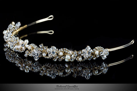 Eva Floral Pearl Gold Headband | Swarovski Crystal - Beloved Sparkles  - 2