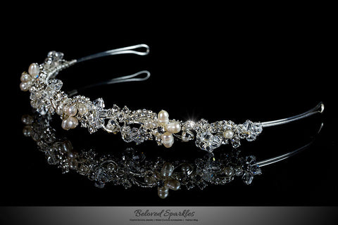 Eva Floral Cream Pearl Silver Headband | Swarovski Crystal - Beloved Sparkles  - 2