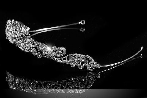 Brianna Romantic Royal Silver Tiara | Swarovski Crystal - Beloved Sparkles  - 2