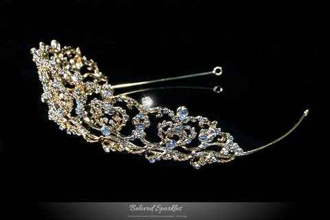 Olina Heart Cluster Gold Tiara | Swarovski Crystal - Beloved Sparkles  - 2