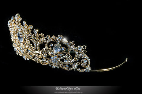 Lucia Victoria Statement Gold Tiara | Swarovski Crystal - Beloved Sparkles  - 2