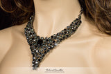 Dawna Art Deco Black Necklace Set | Crystal - Beloved Sparkles