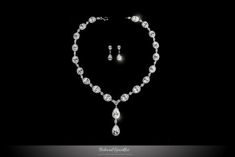 Delores Vintage Dangle Pear Drop Necklace Set | 80 Carat | Cubic Zirconia - Beloved Sparkles