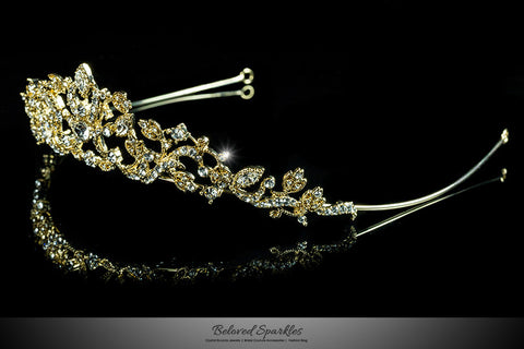 Nedda Art Deco Filigree Tiara | Gold | Swarovski Crystal - Beloved Sparkles  - 2