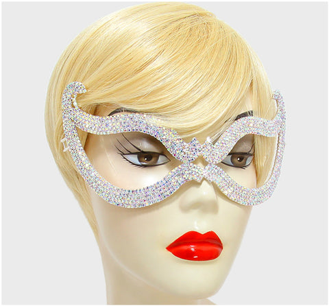 Bijou Romantic Cat Eye Masquerade Mask | Silver | Crystal - Beloved Sparkles  - 2