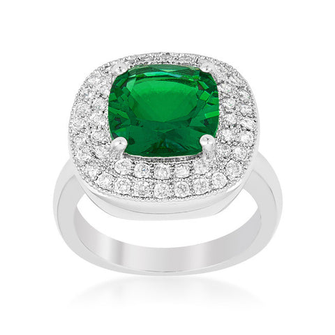 Blair Emerald Green Cushion Cut Cocktail Ring | 5 Carat | 3 Carat | Cubic Zirconia - Beloved Sparkles  - 2