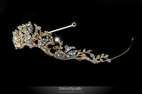 Dita Floral Filigree Gold Tiara | Swarovski Crystal - Beloved Sparkles  - 2