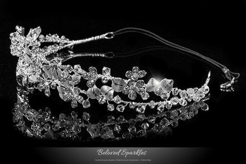 Cherise Two Row Flower Silver Headband | Swarovski Crystal - Beloved Sparkles  - 2