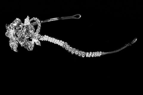 Rosalba Twin Flower Pearl Silver Headband | Swarovski Crystal - Beloved Sparkles  - 2