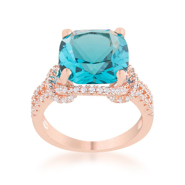 Charlene Aqua Blue Rose Gold Classic Statement Cocktail Ring | 8ct | Cubic Zirconia - Beloved Sparkles  - 1