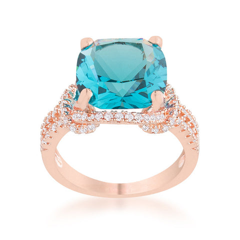 Charlene Aqua Blue Rose Gold Classic Statement Cocktail Ring | 8ct | Cubic Zirconia